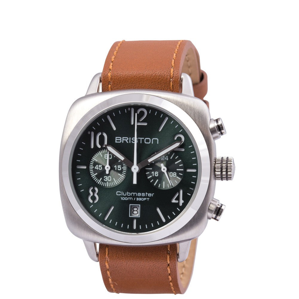 Briston Clubmaster Classic Steel Crono British Green Sunray Dial