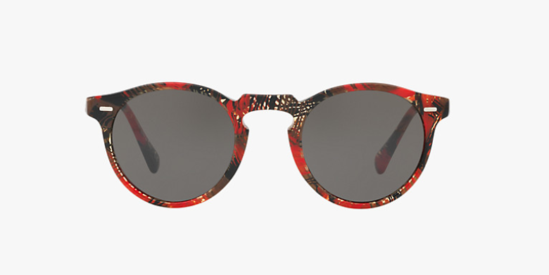 Oliver Peoples Gregory Peck Sun in Palmier Rouge + Grey Lens