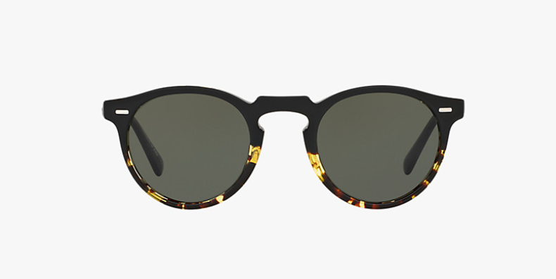 Oliver Peoples Gregory Peck Sun in Dark Tortoise Black + Green Polar Lens