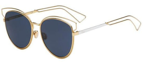 Dior Ladies Sunglasses Sideral2 in Gold Palladium/Dark Blue