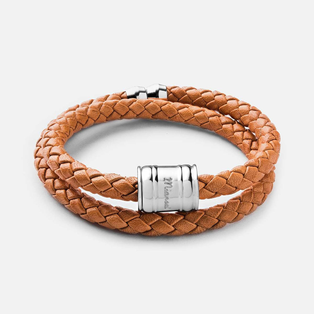 MIANSAI LEATHER CASING BRACELET, SILVER-PLATED IN LONDON TAN