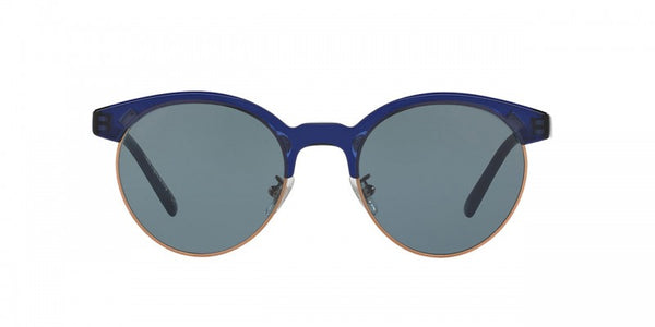 Oliver Peoples Ezelle in Denim/Brushed Rose Gold + Indigo Photochromic Glass