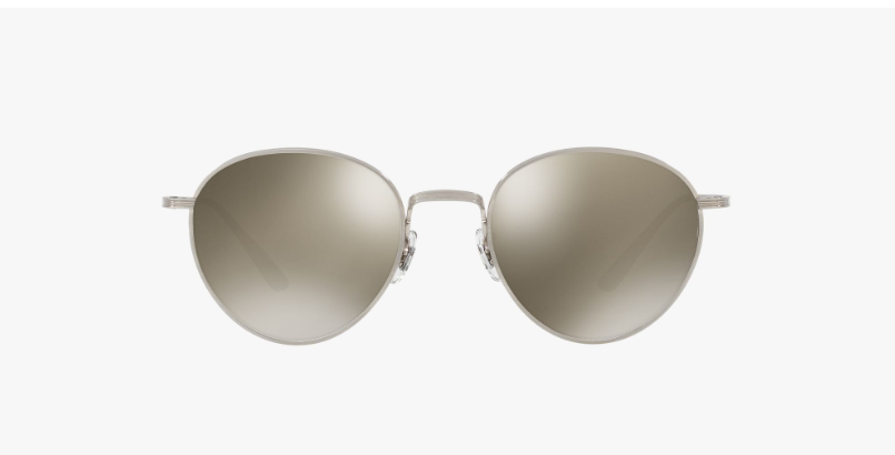 Oliver Peoples The Row Brownstone 2 in Brushed Silver + Dark Grey Mirror Gold Lens