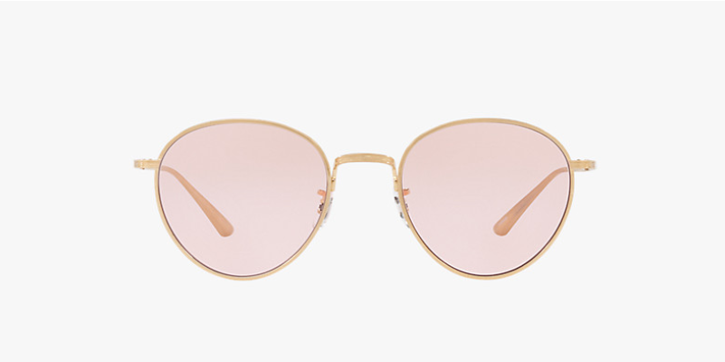Oliver Peoples The Row Brownstone 2 in Brushed Gold + Pink Lens