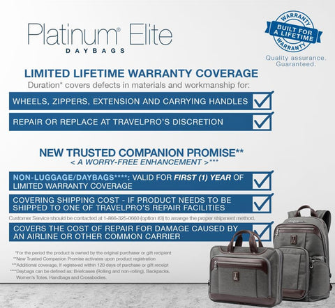 Platinum Elite Day Bags Warranty-EN