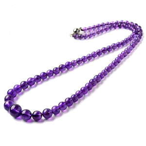 Natural Purple Amethyst Crystal Necklace *4-10mm
