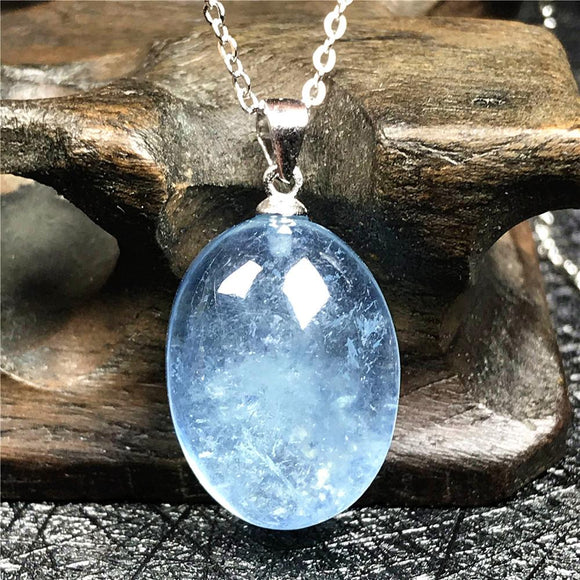 Silver Natural Blue Aquamarine Crystal Necklace *3.5g