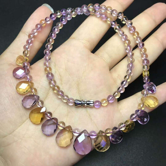 Natural Ametrine Purple Yellow Crystal Necklace *12mm
