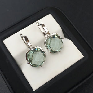 Silver Natural Green Amethyst Crystal Earring *10mm 7Ct