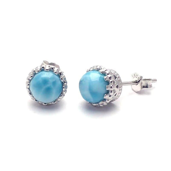Silver Natural Blue Larimar Earring *6mm