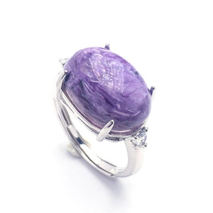 Silver Natural Charoite Gemstone Ring *13-17mm
