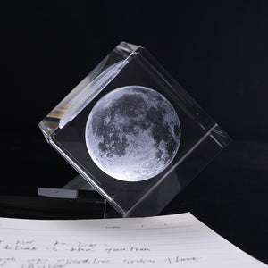 3D MOON IN CUBE CRYSTAL '60mm