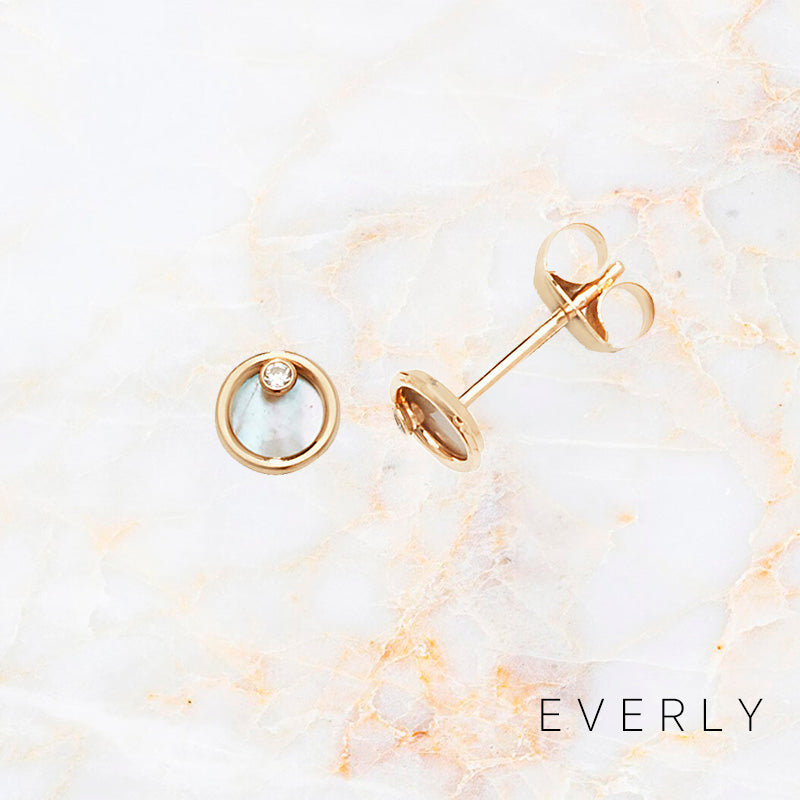 Mother or Pearl Disk Studs
