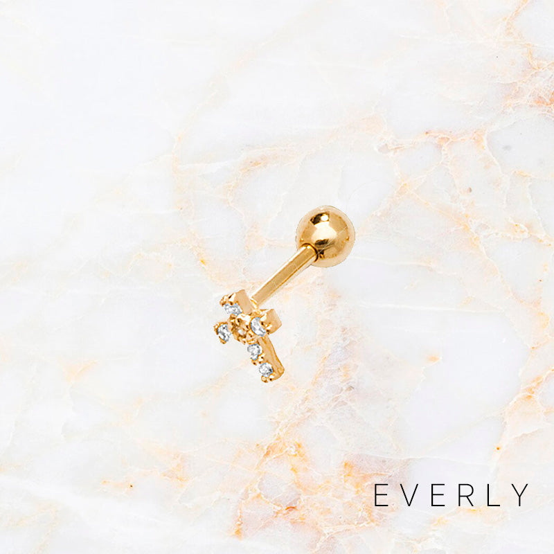 The Mini Pave Cross Stud