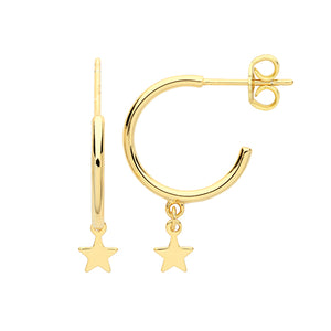 The Golden Star Charm Hoops