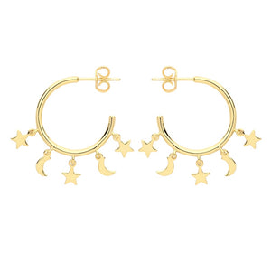The golden moon and star hoops