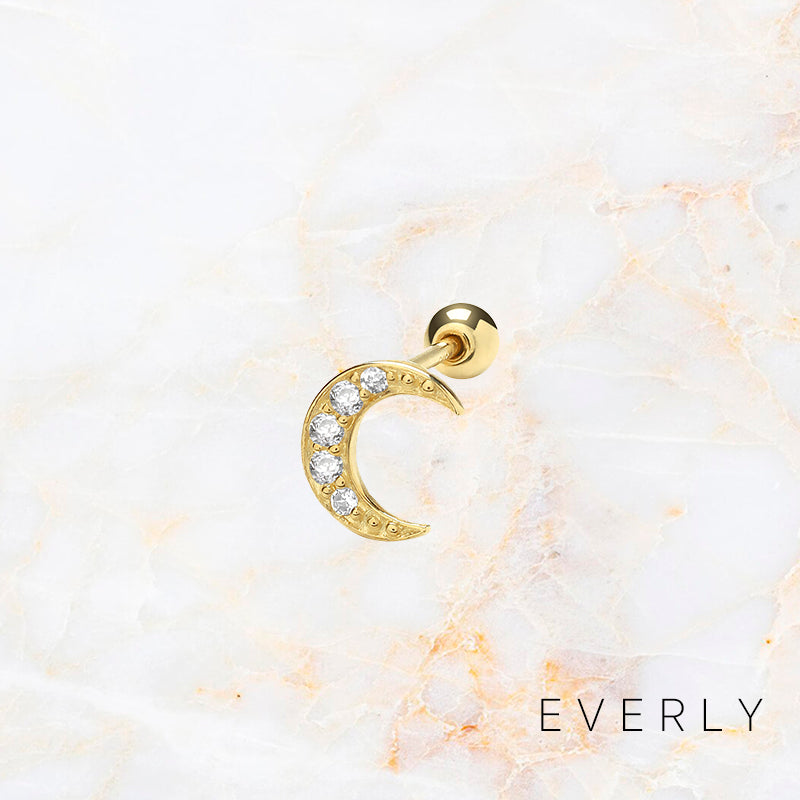The Pave Moon Stud