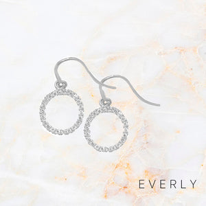 White Halo Drop Earrings