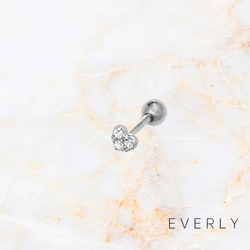 The White Gold Heart Pave Stud