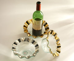 Wine Coaster, Gold Ruffle