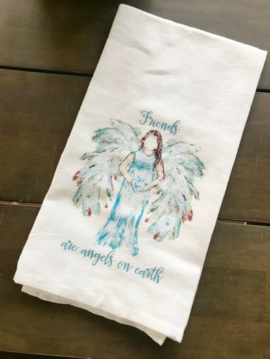 Friends are Angels on Earth Towel