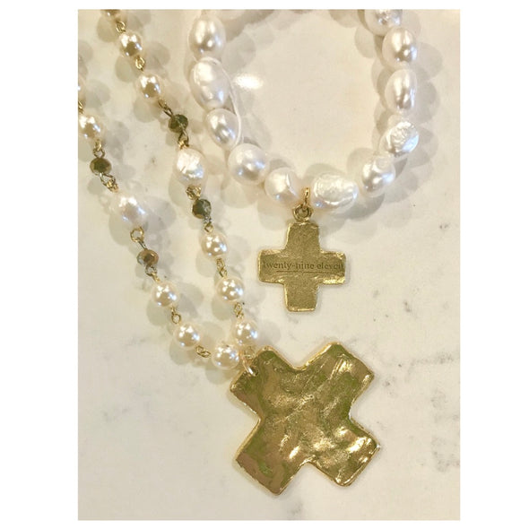 Twenty Nine Eleven Pearl & Cross Bracelet