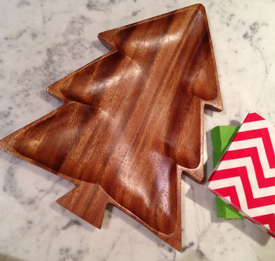 Wooden Christmas Tree Platter