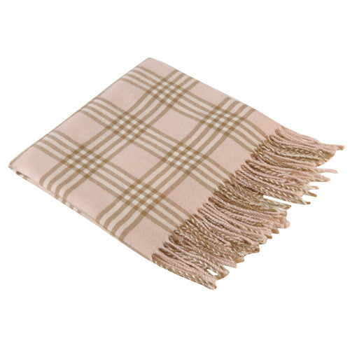 Pink Plaid Receiving Baby Blanket
