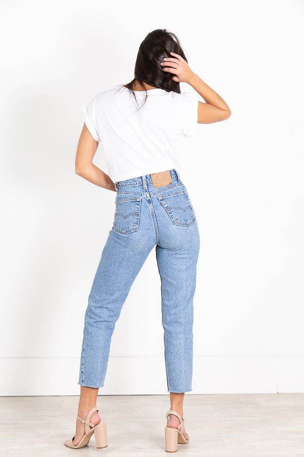 Vintage 80s Levi's MOM REWORK Cut Off Light-Wash Denim Jeans