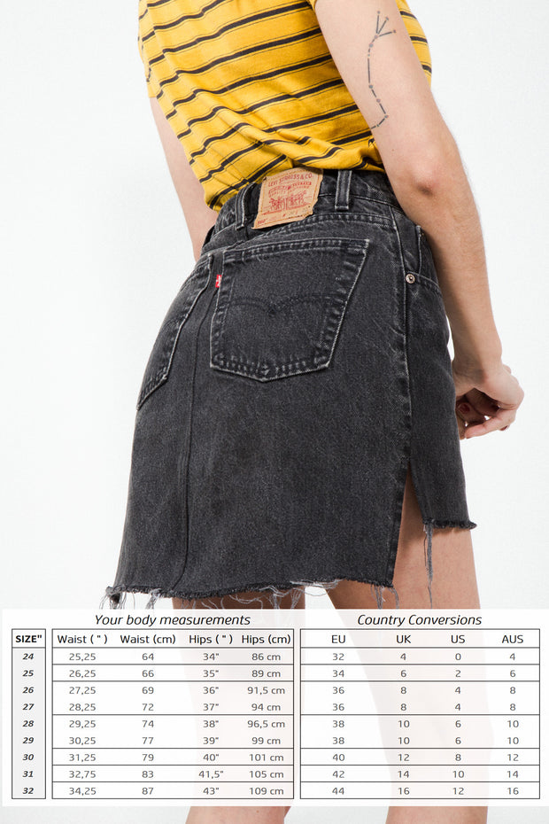 Vintage 80s Reworked High Waisted Denim Skirt