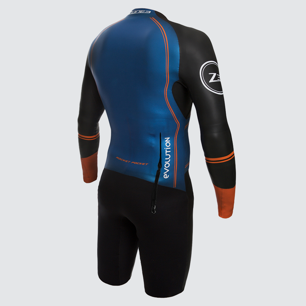 Men's Swim-Run Evolution Wetsuit with 8mm Calf Sleeves back