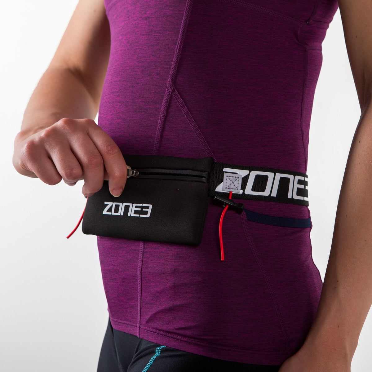Endurance Number Belt with Neoprene Fuel Pouch and Energy Gel Storage zip