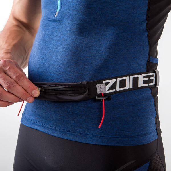 Endurance Number Belt with Lycra Fuel Pouch and Energy Gel Storage zip