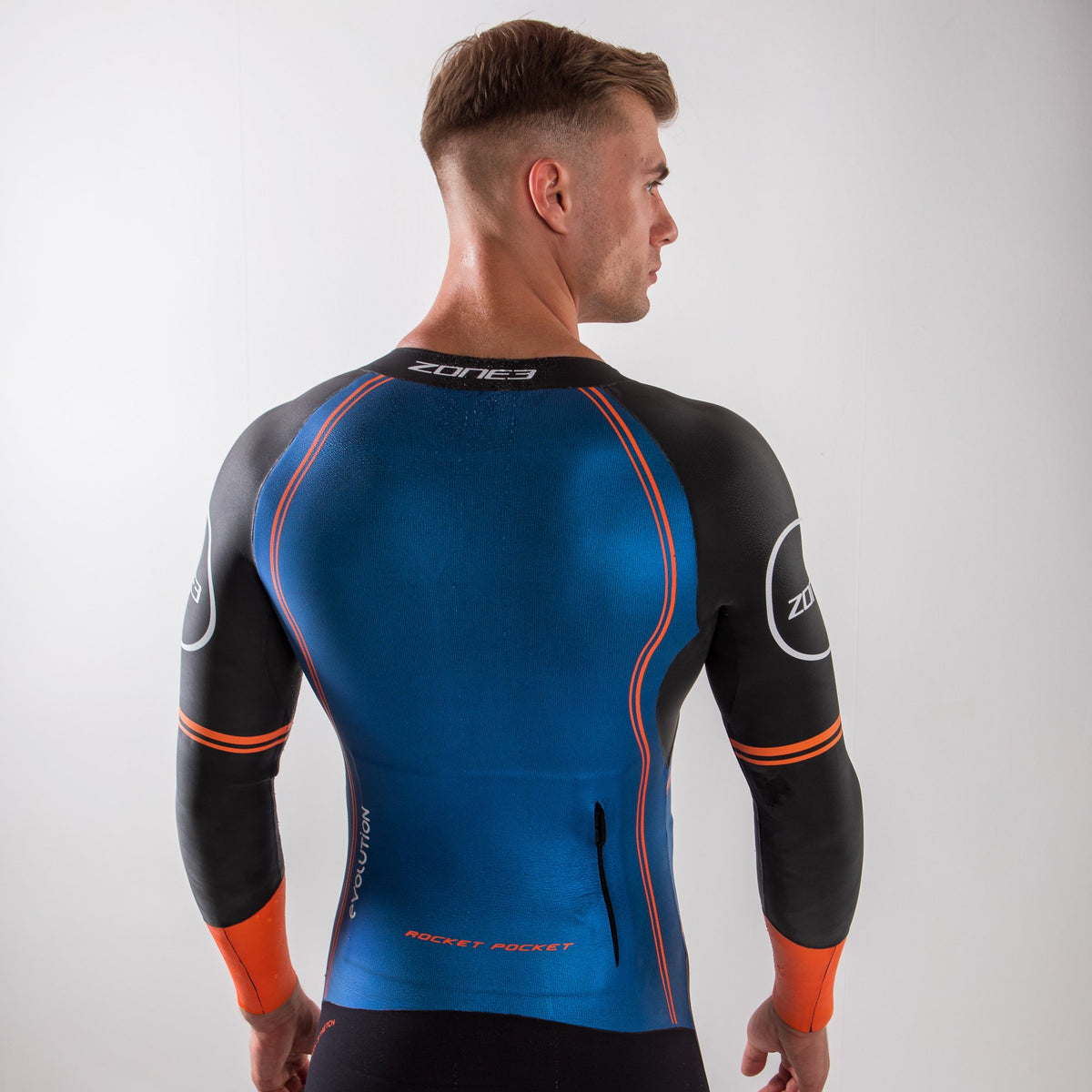 Men's Swim-Run Evolution Wetsuit with 8mm Calf Sleeves back pose