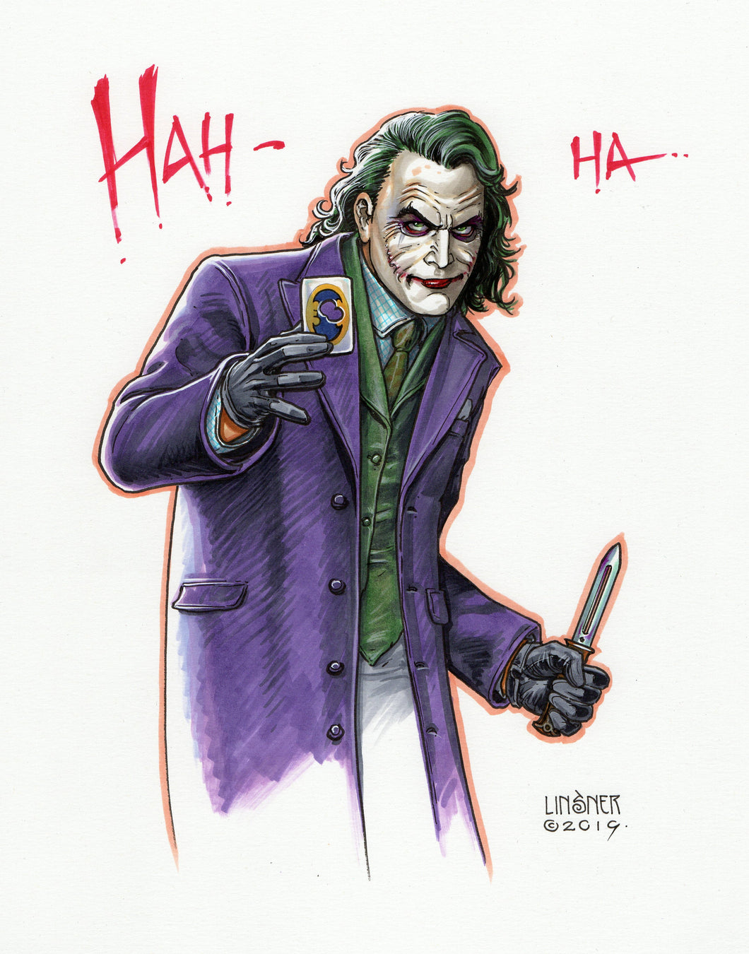Heath Ledger Joker by Joseph Michael Linsner- 9x13