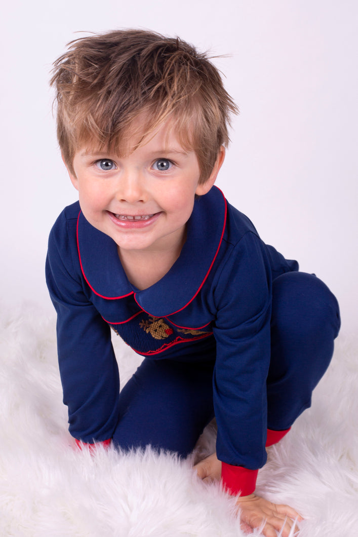 Exclusive Boys Lounge Wear With Embroidered Reindeers Designed By Henry's Wardrobe