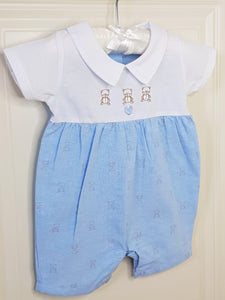 Traditional Baby Boy Romper With Teddy Bears