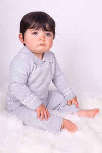 Boys Grey Knitted Lounge Set