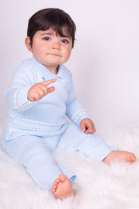 Baby Blue Boys Knitted Lounge Set