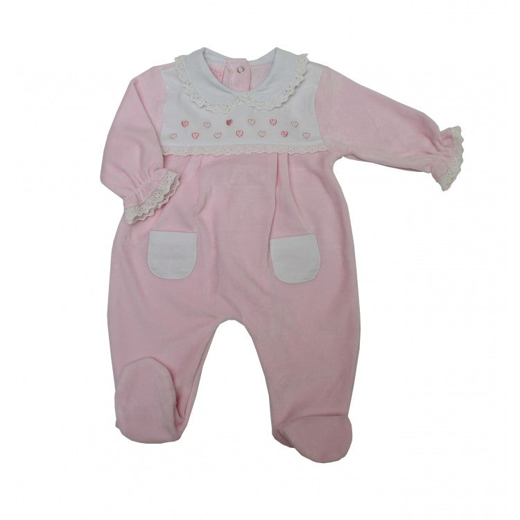 Baby Girls Pink Velour Sleepsuit With Lace Trim And Heart Embroidery