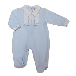Baby Blue Velour Cross Stitch Sleepsuit