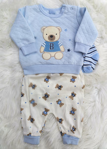Baby Boy Teddy Bear Quilted Top, Pants And Socks Set