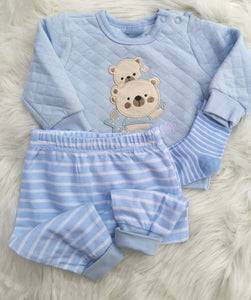 Baby Teddy Bear Quilted Top, Pants And Socks Set