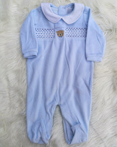Baby Blue Smocked Velour Sleepsuit With Embroidered Teddy Bear