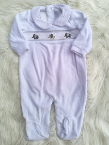 Unisex White Smocked Velour Sleepsuit