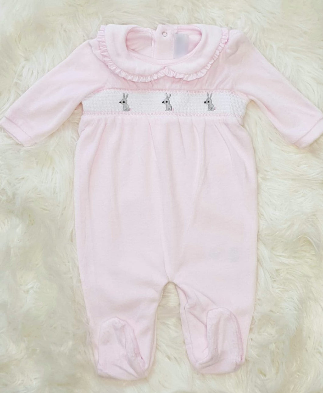 Baby Pink Smocked Velour Sleepsuit With Embroidered Bunnies