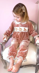 Girls Luxe Velvet Romper With Embroidery, Smocking And Lace