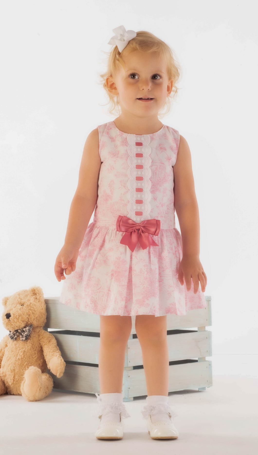 Pink Spanish Dress With Pink Ribbon And Bow