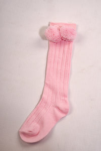 Knee Length Ribbed Pom-Pom Socks