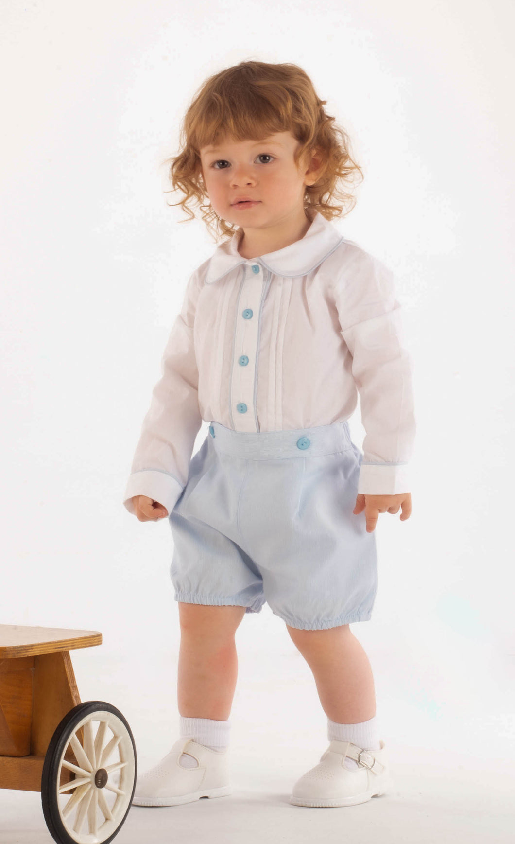 Traditional Boys Shirt And Short Set In Blue